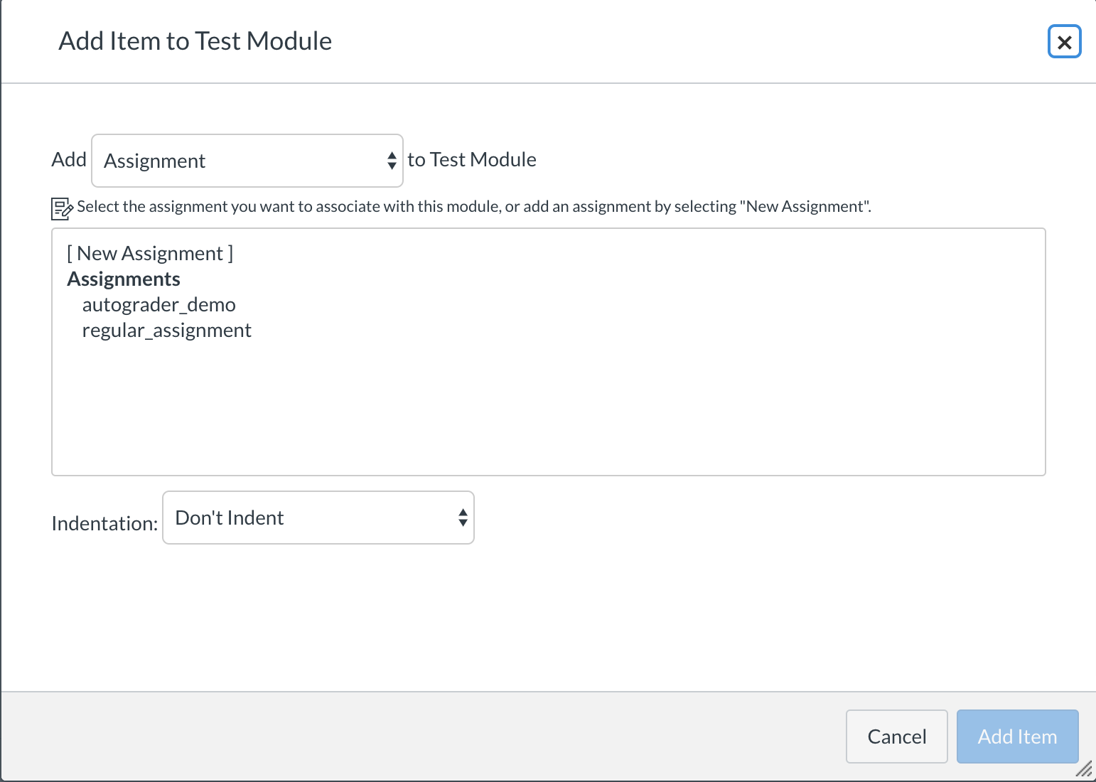 Add an existing assignment to a course module