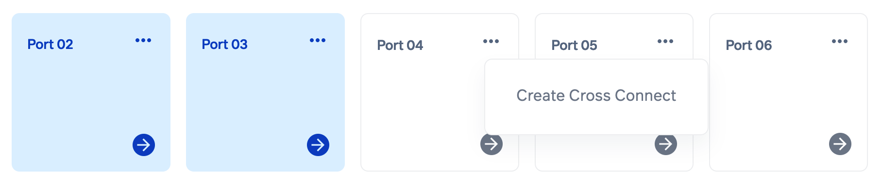 """Click """"Create Cross Connect"""" from the port's context menu."""
