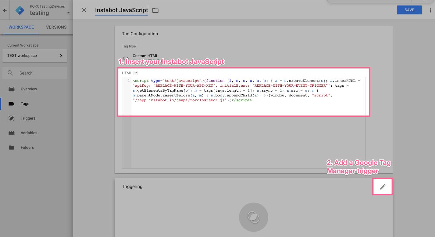 Insert the Instabot JavaScript