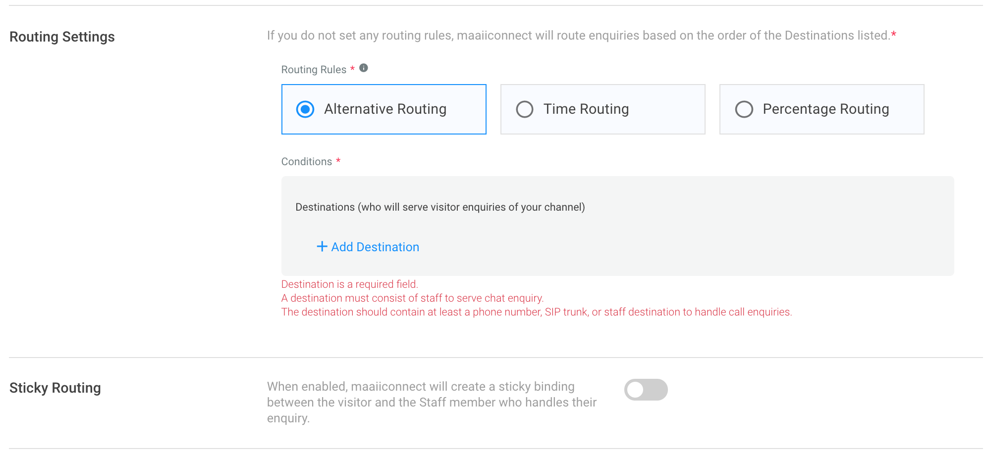 Routing Settings