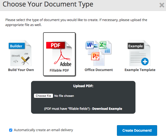 Webmerge Integration: Create PDF using information collected using