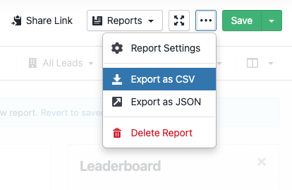 Export report as CSV or JSON