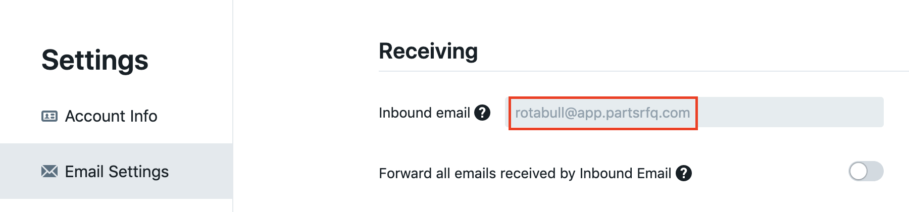 *Inbound email* found on the Email Settings page