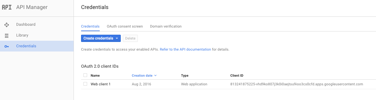 Google OAuth client.