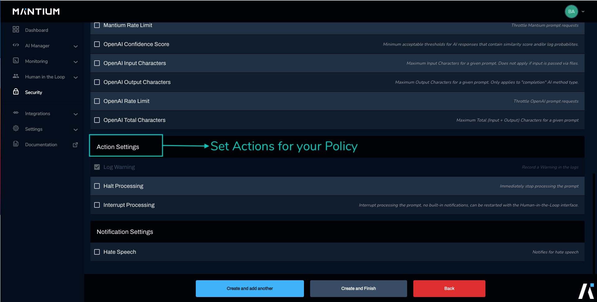Set actions for your security policy