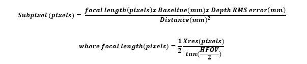 Subpixel RMS equation