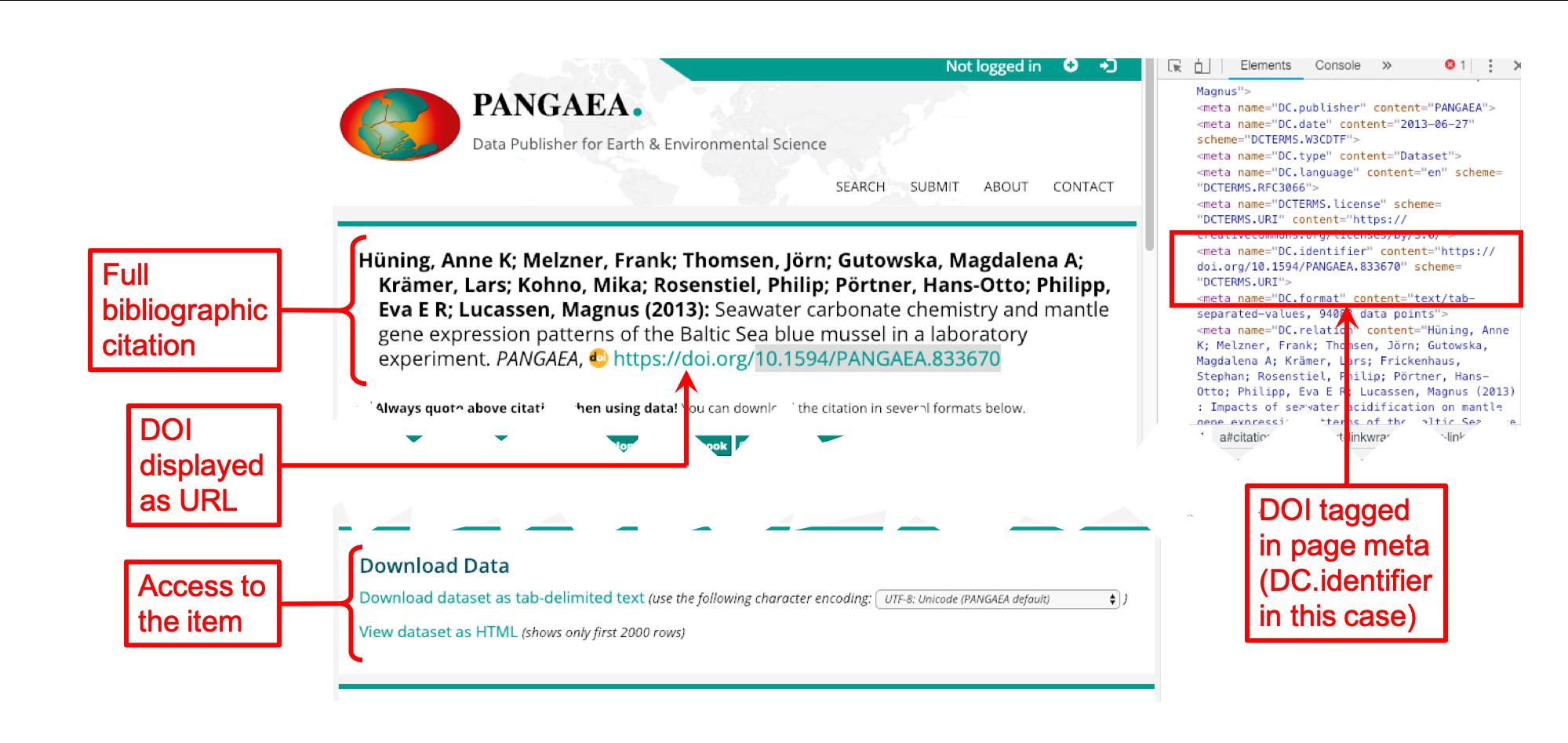 PANGAEA landing page