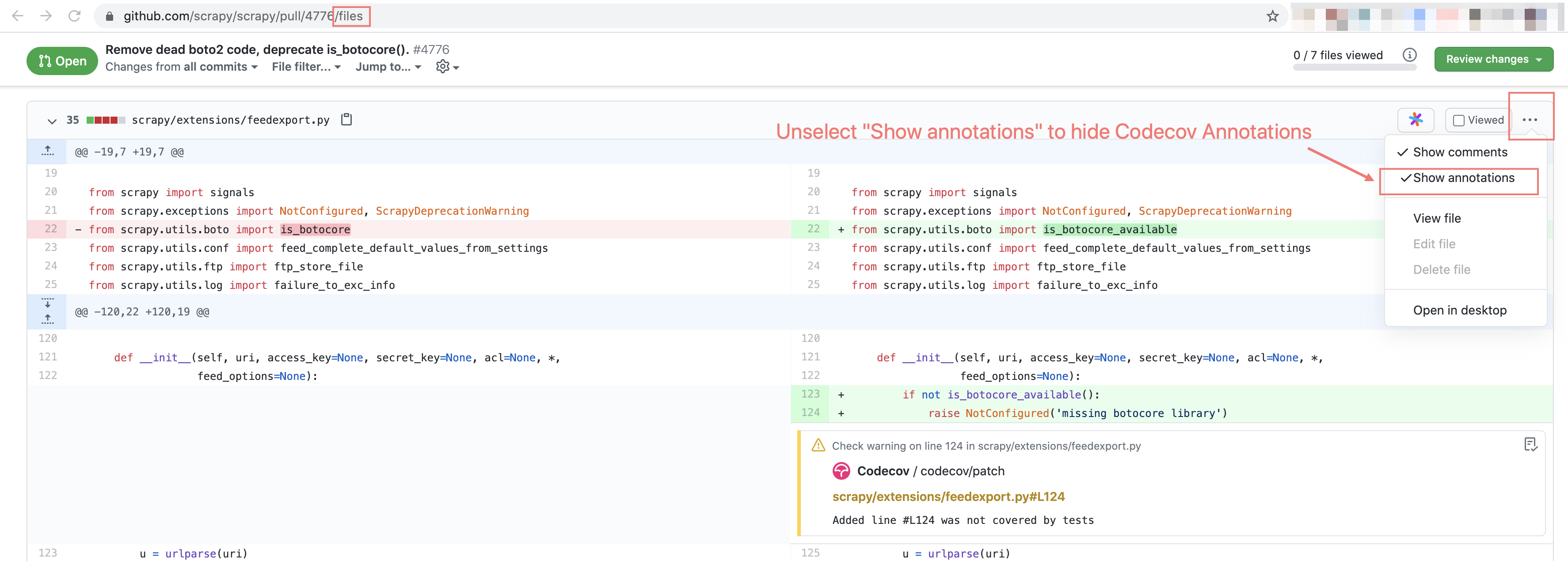 Hiding Codecov Annotations in Files view