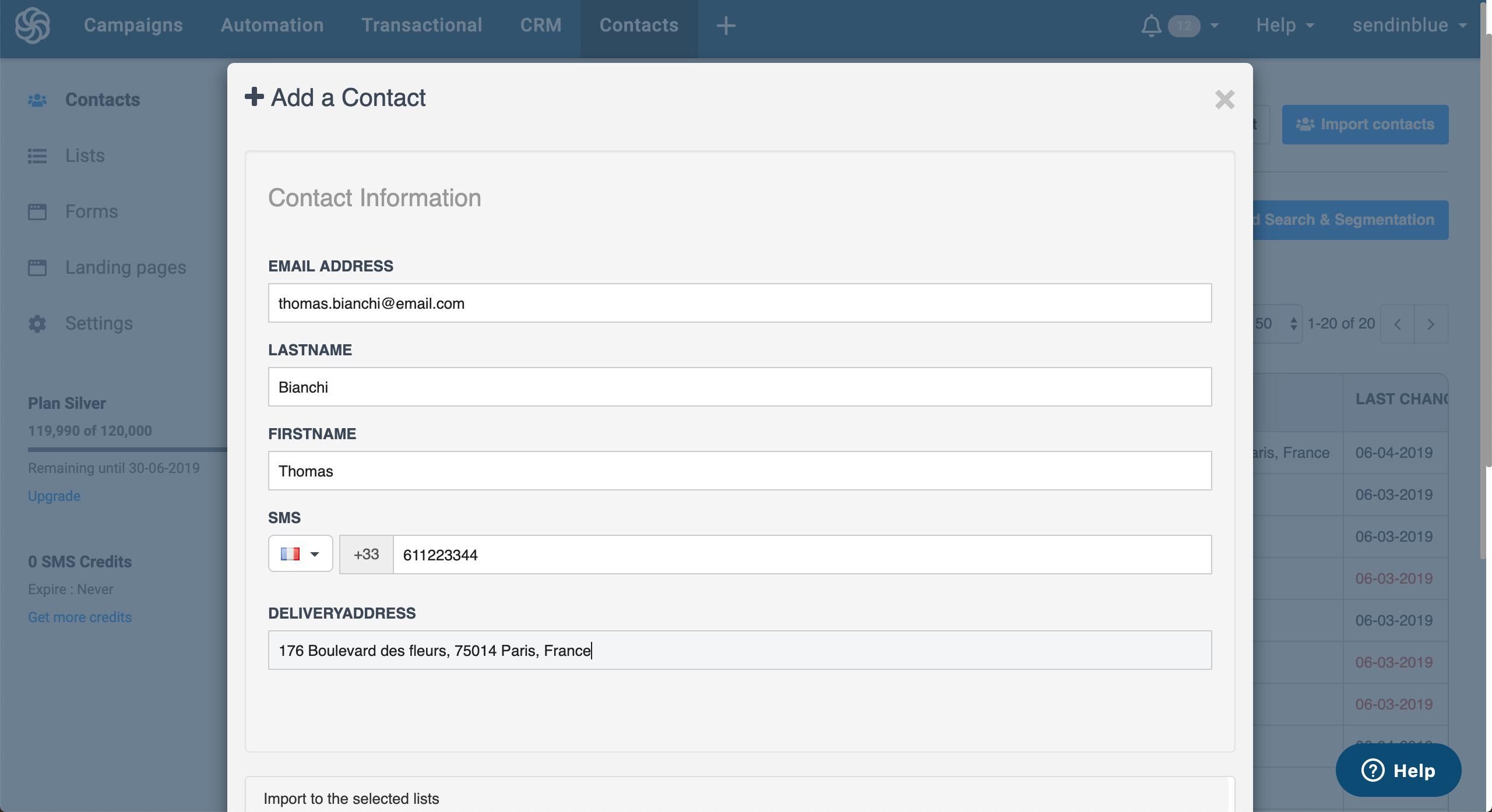 Create a new contact though Sendinblue dashboard