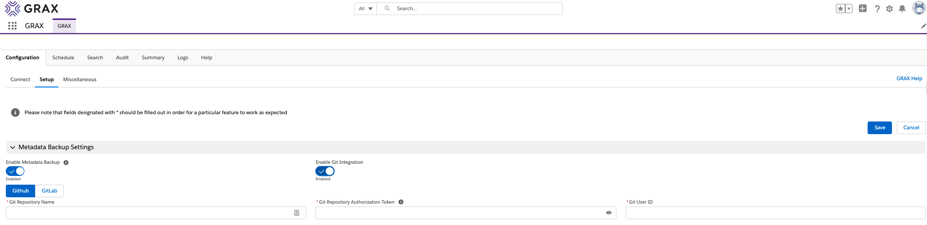 Use the Advanced Configuration page to enable metadata backup and optionally also enable the Github integration.