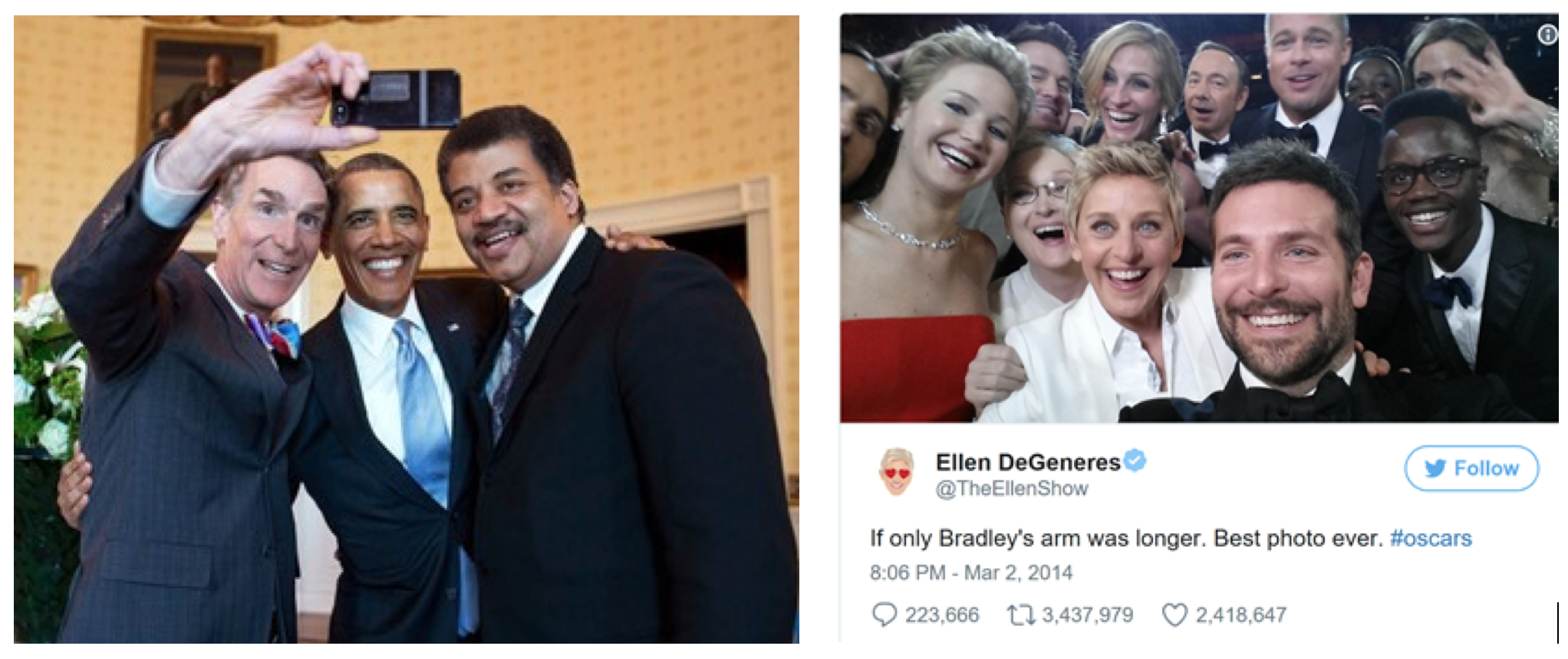 "Figure 3. Bill Nye takes selfie of US President Barack Obama and Neil deGrasse Tyson at the White House<sup>1</sup>, and the ""most famous selfie"" by Ellen DeGeneres at the Oscars."