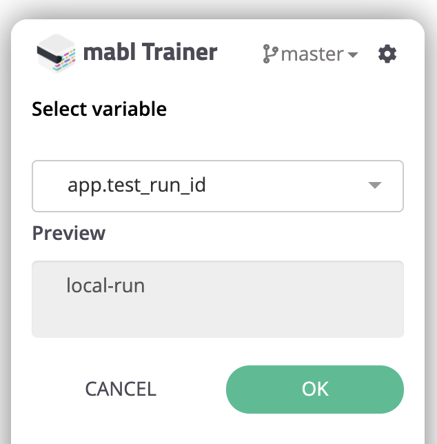 Selecting the `app.test_run_id` variable to insert.