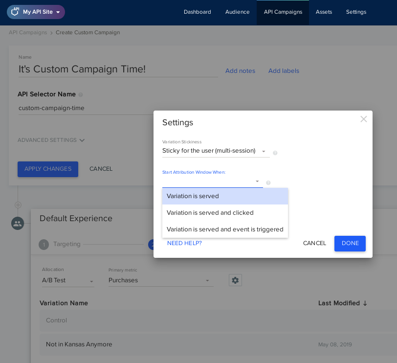 Available attribution settings when creating an API campaign