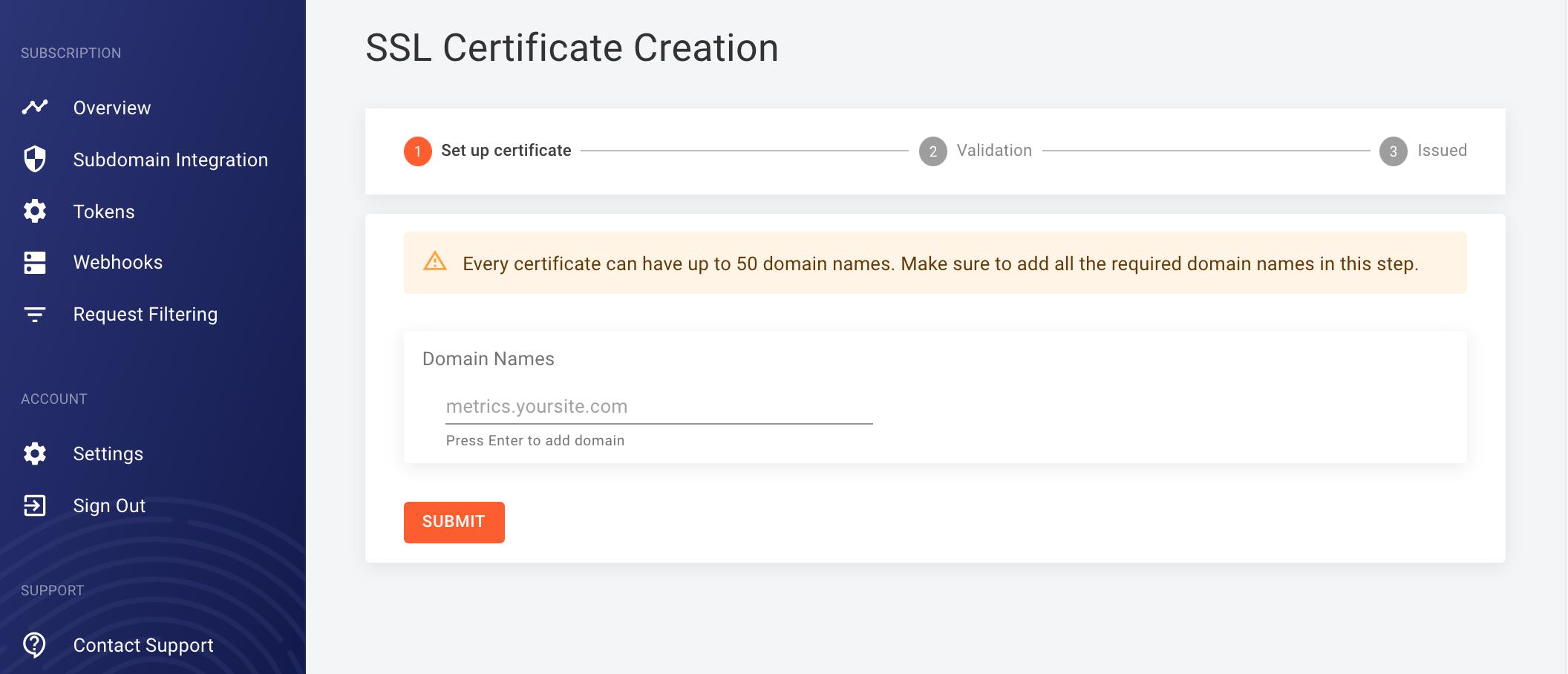Screenshot of how to add a domain in the FingerprintJS dashboard