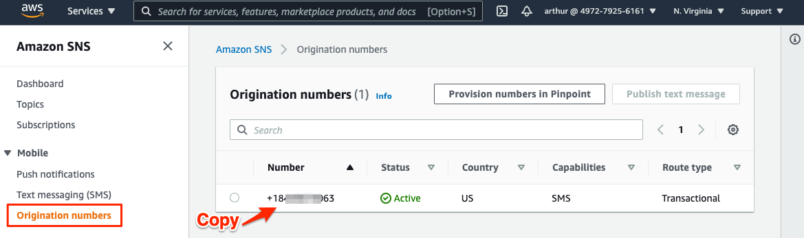 AWS SNS Console - Origination numbers