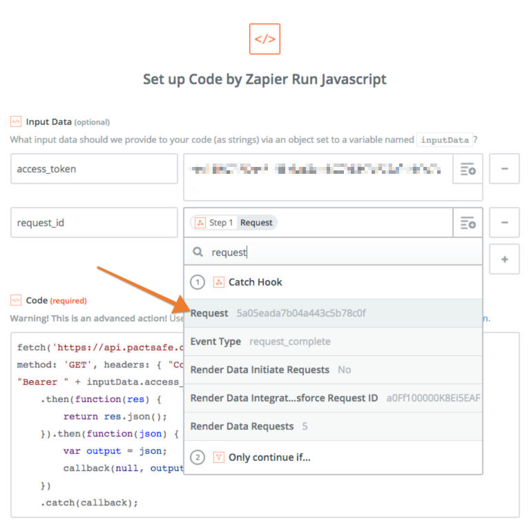 "Use the Request ID from the webhook to populate the Request ID in the ""Code by Zapier"" action. That will give you a ""Download URL"" for your PDF that Zapier can use to send to whichever app you choose next!"