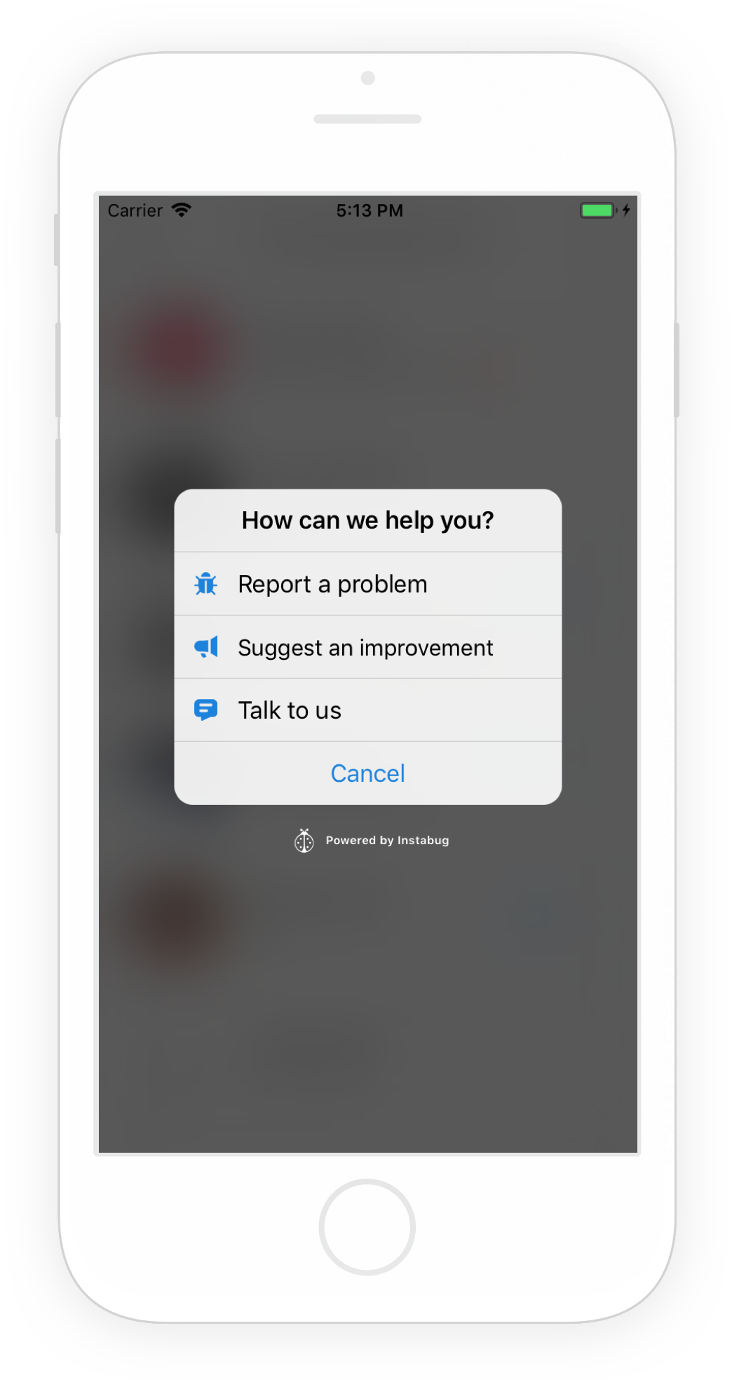 The Prompt Options menu appears when Instabug is invoked in your app.