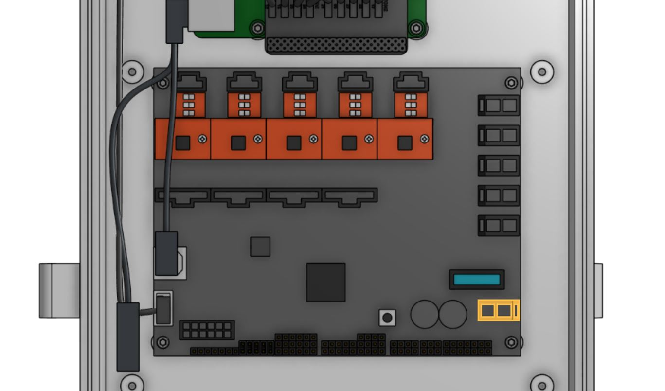 The power input connector is highlighted in orange