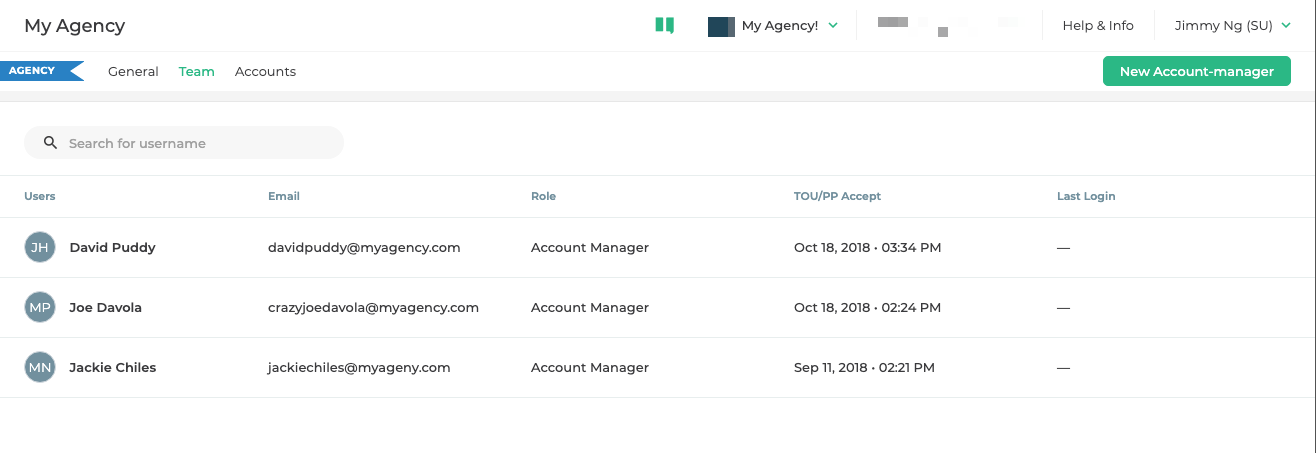 Manage the team members of your agency