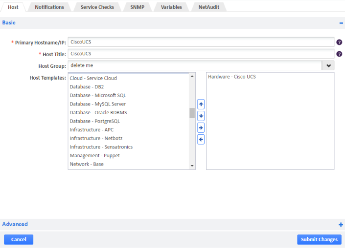 Example of Adding Cisco UCS Host Template