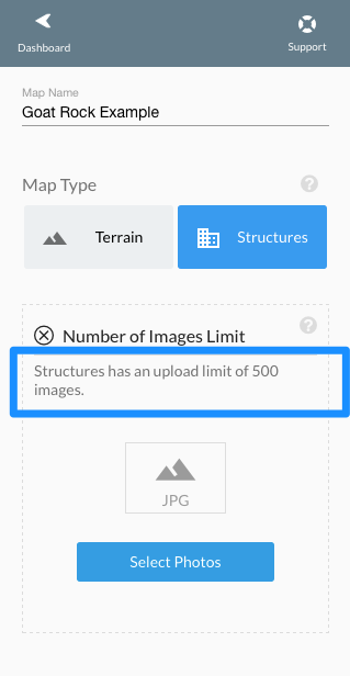 Structures upload option, limited to 500 images.