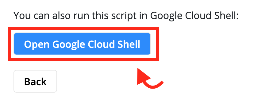 Button that Launches the Google Cloud Shell