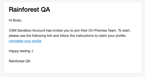 A sample email invitation.