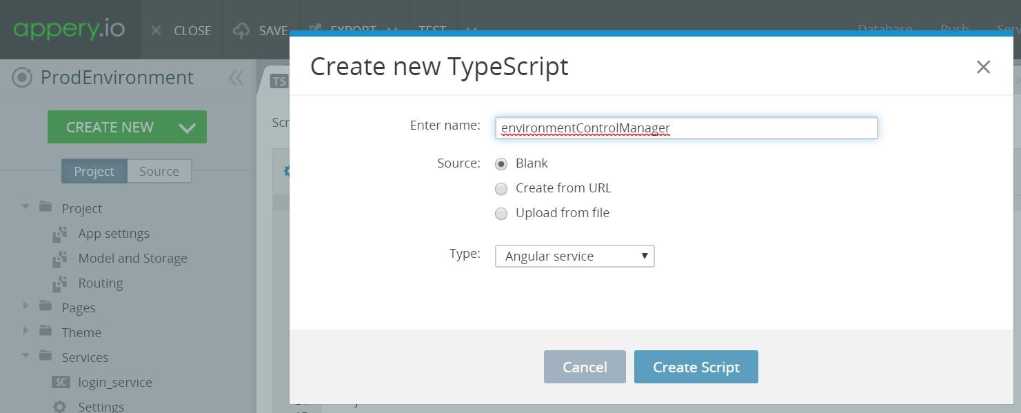 TypeScript environmentControlManager