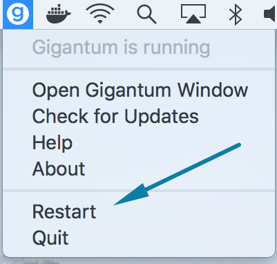 Click 'Restart' button to restart the Gigantum Client