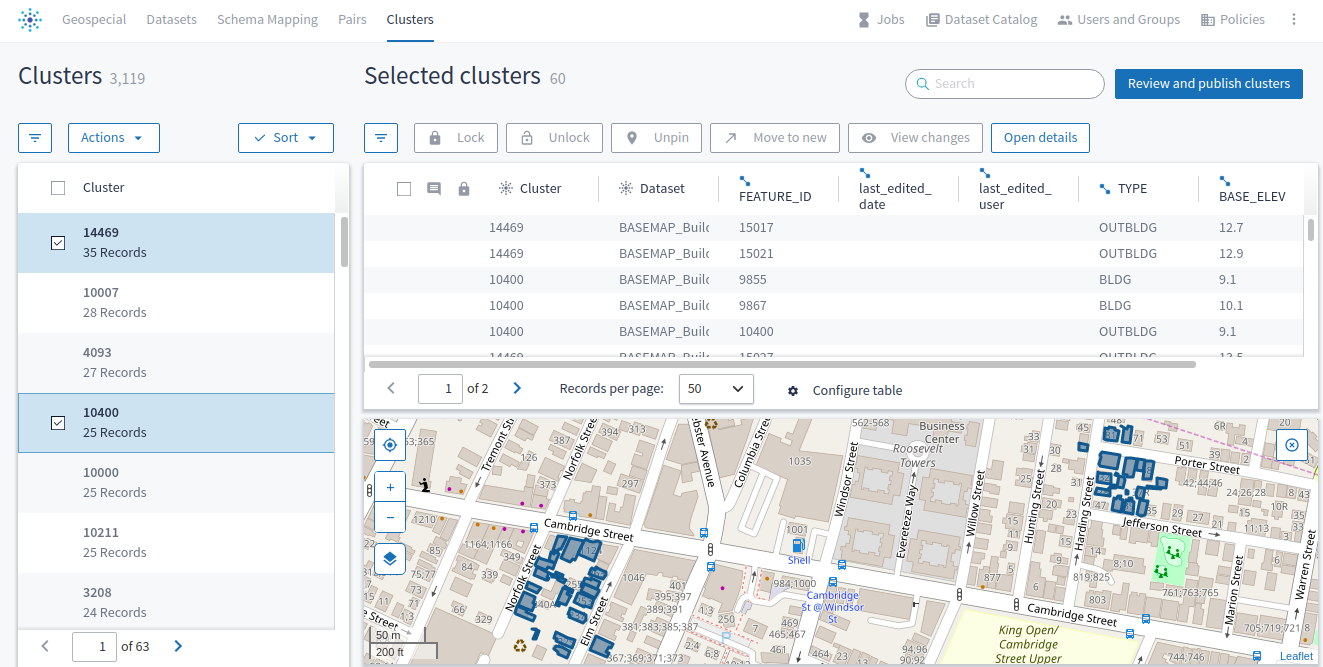 The **Clusters** page shows two clusters of geospatial records.