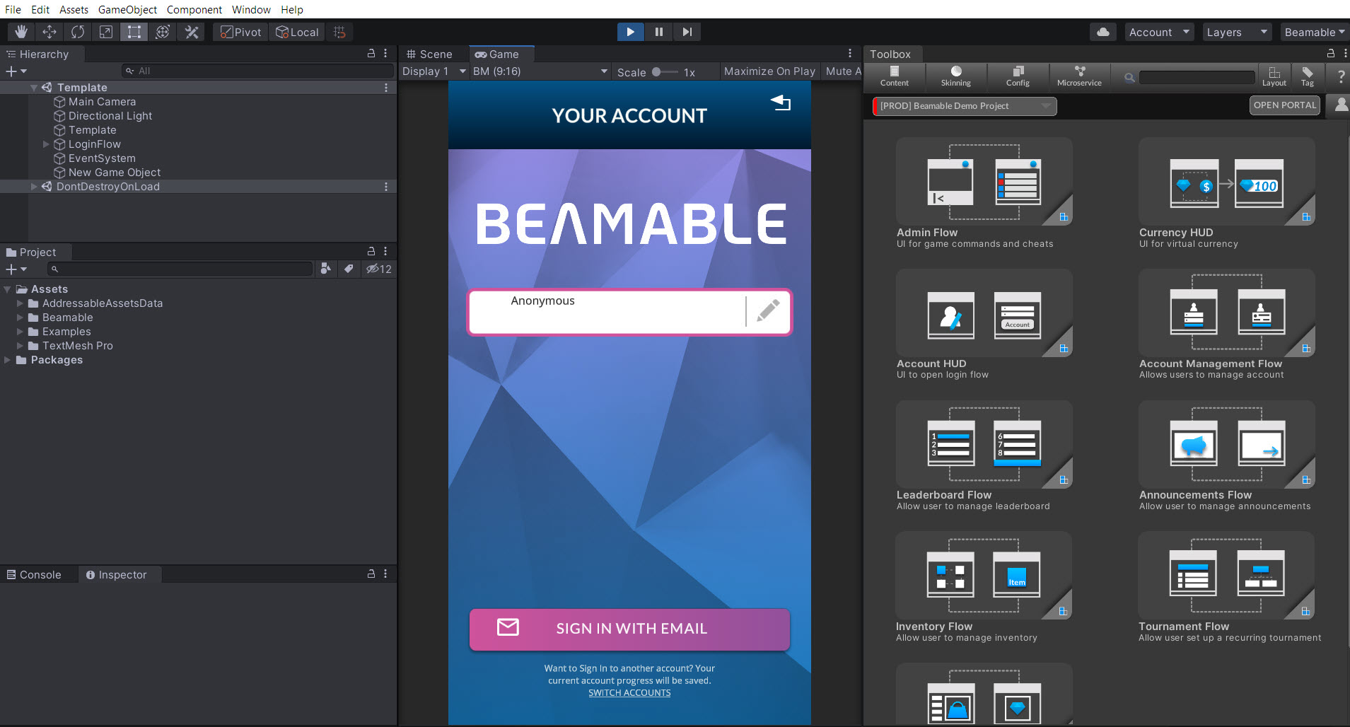"""The Beamable """"SDK For Unity"""""""