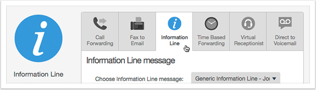 Select 'Information Line' from the drop down