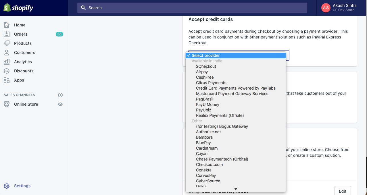 Select Payment Gateway - Cashfree