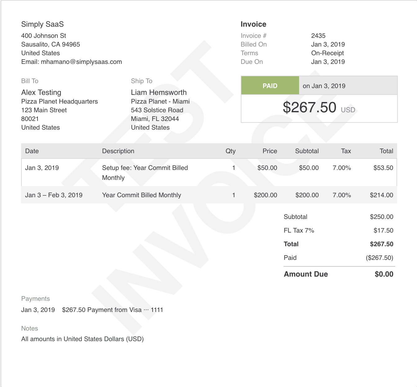 This parent invoice is taxed based on the shipping address of the Child account based on Colorado.