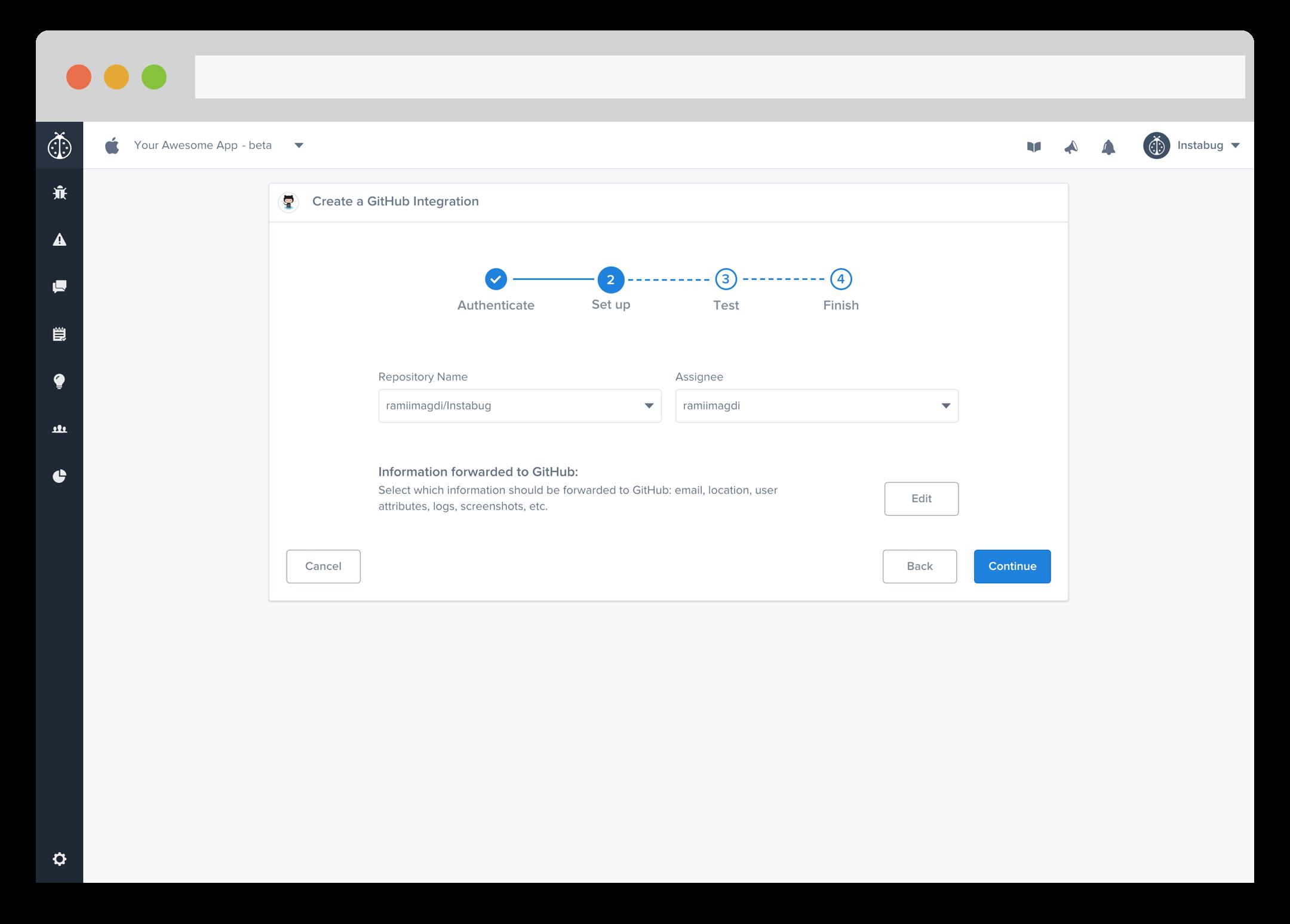 instabug github integration: integration setup page