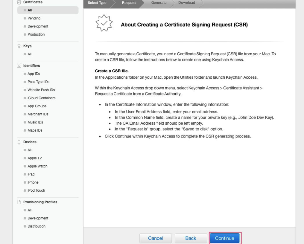 create universal apns sertificate for ios app, step four