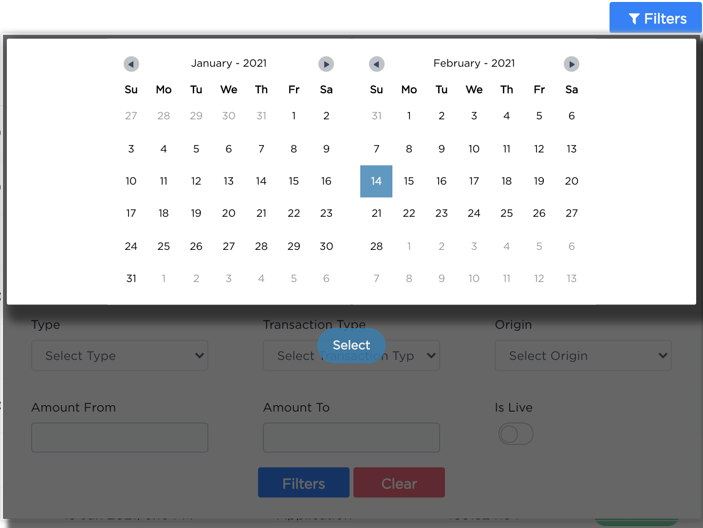 Accept Dashboard - Transactions Tab.
