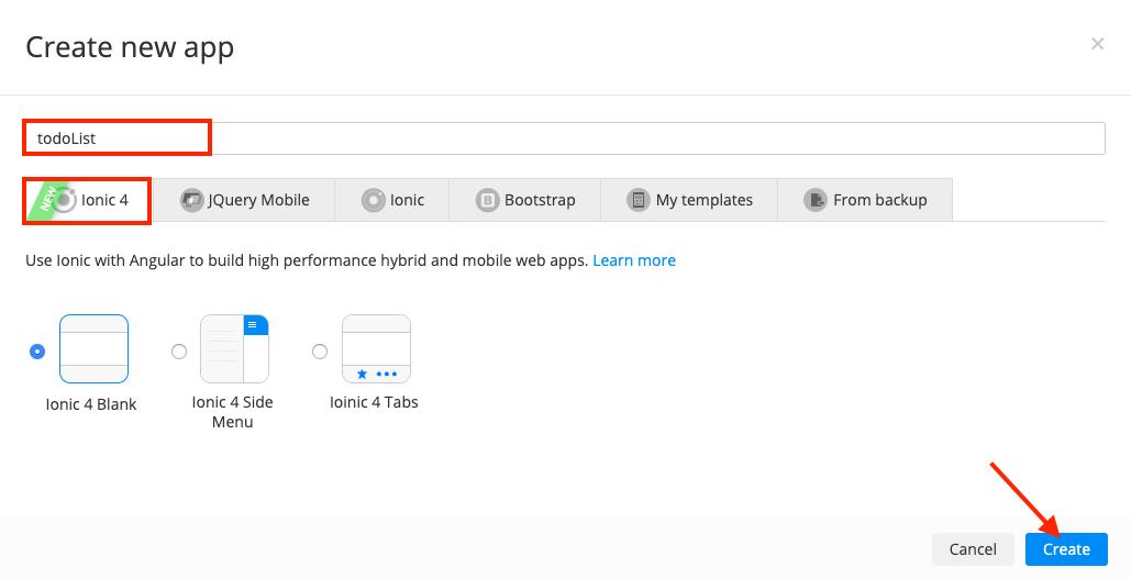 Ionic 4 App create dialog