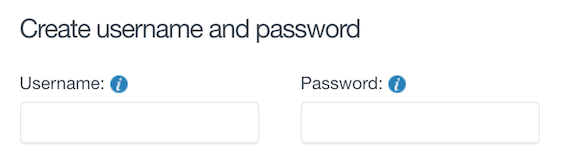 Create a username and password