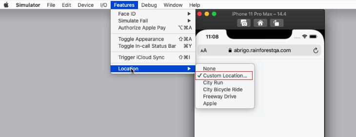 Setting a custom location in an iOS VM.