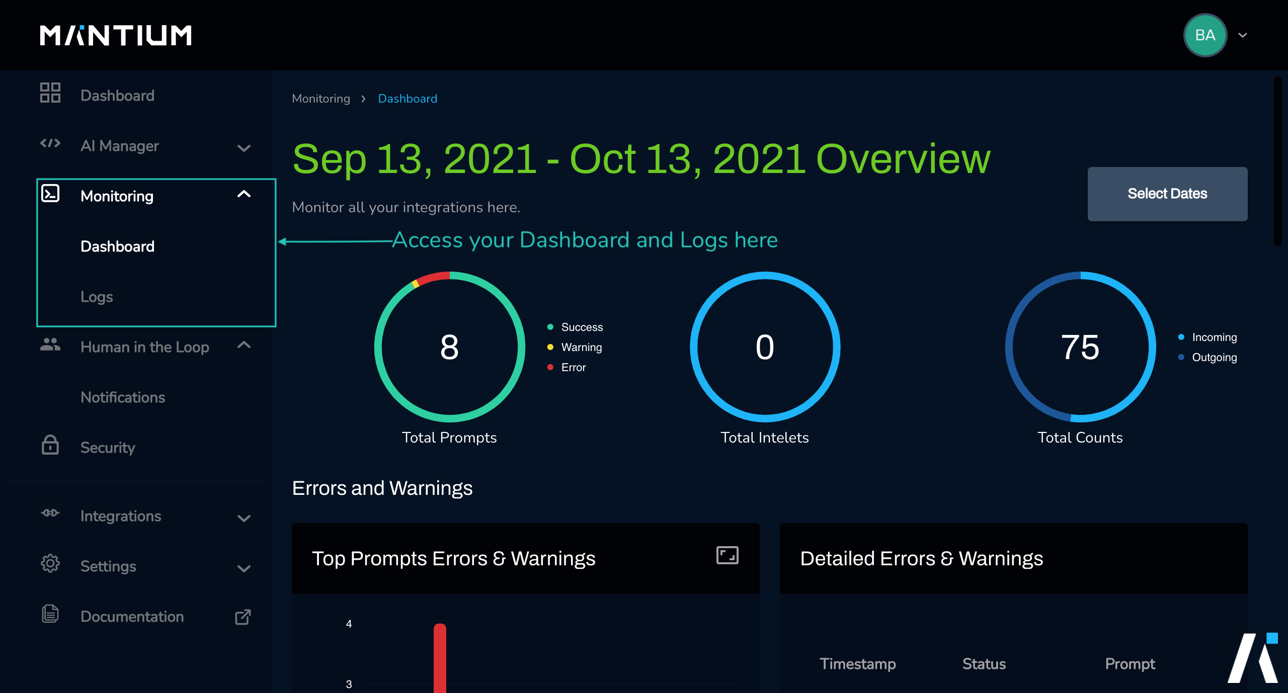 View your logs and dashboard