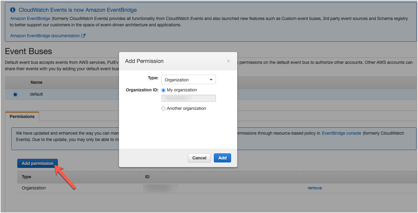 Add Permission to Event Bus