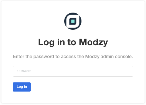Admin console password is auto-generated and can be found in Secrets Manager → /modzy/STACK_NAME/app → modzy-config-password