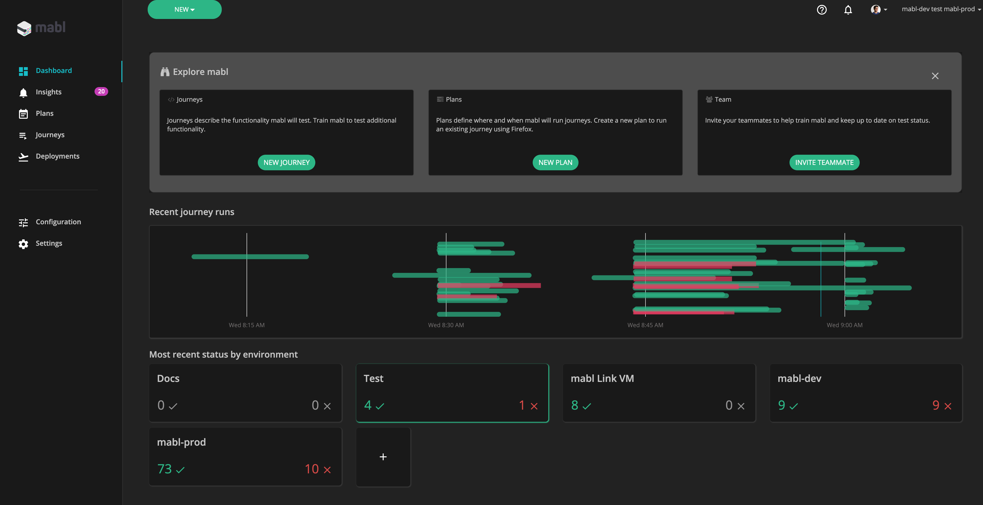 mabl dashboard with Dark Mode user setting applied
