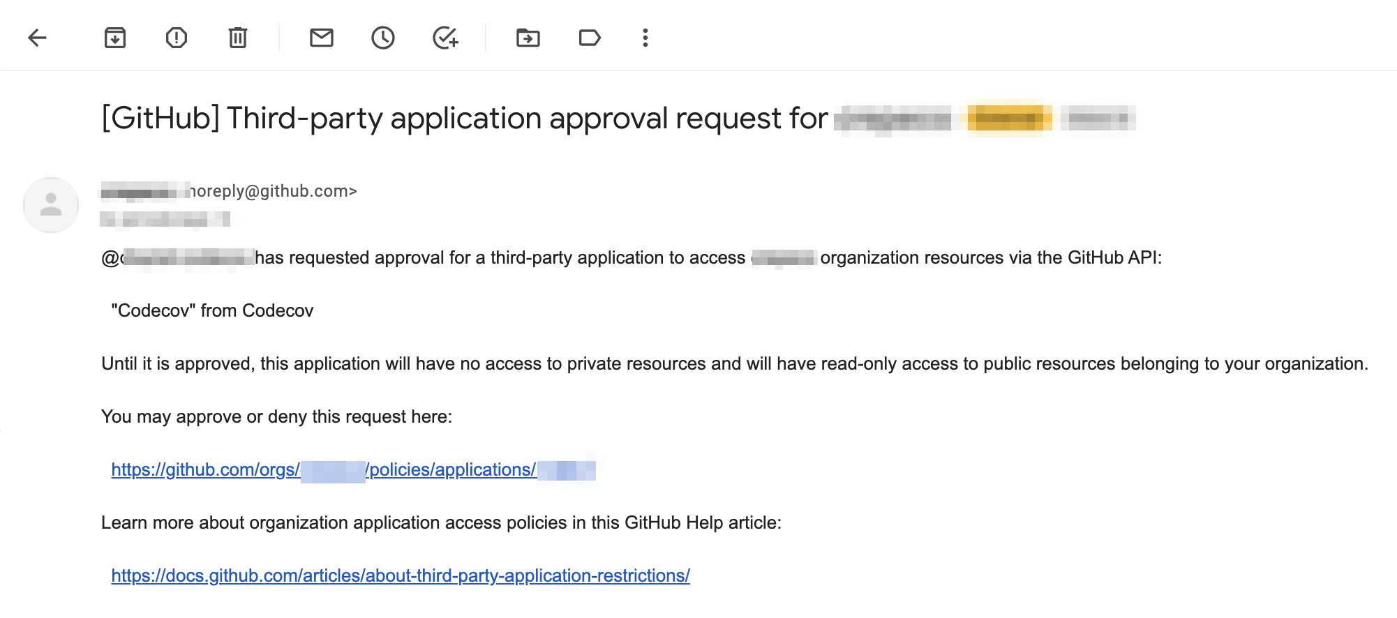 The email sent to GitHub Admins when a user has requested access to their GitHub Organization on behalf of Codecov.