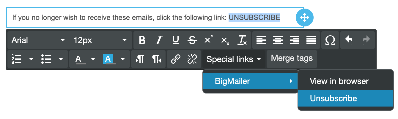 Drag-n-drop editor - adding special links
