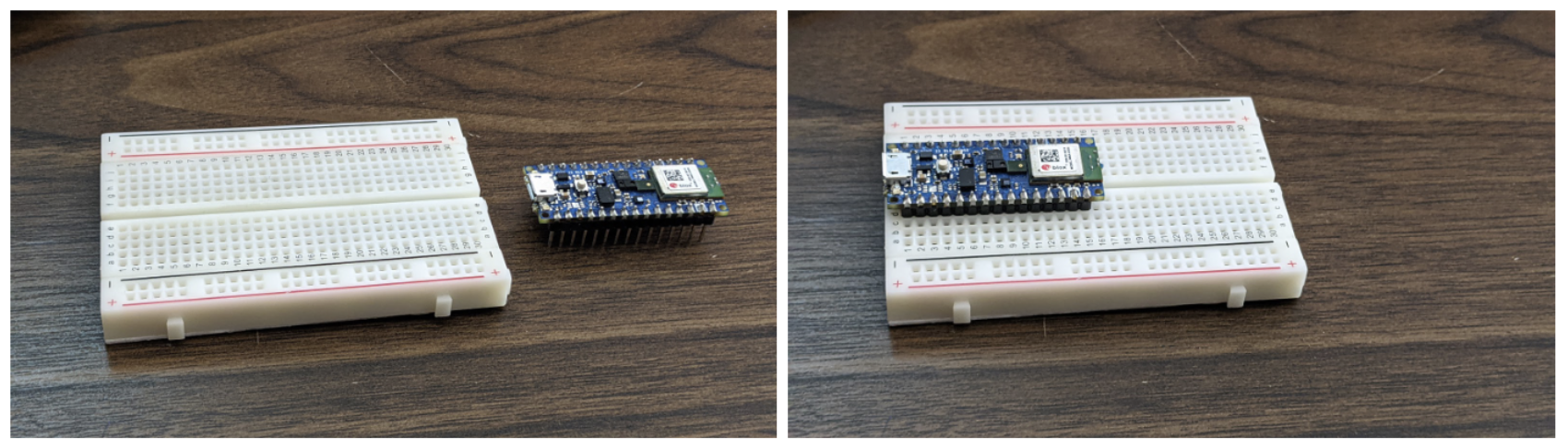 Arduino Nano 33 BLE Sense board with headers inserted into a solderless breadboard.