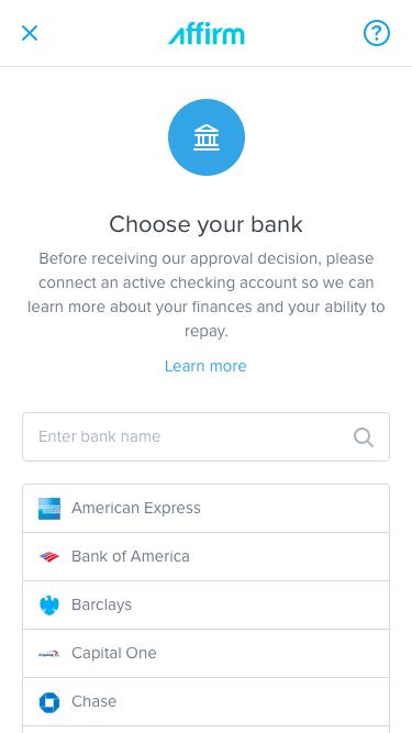 Affirm Choose Bank