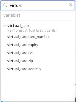 Virtual credit card test data.