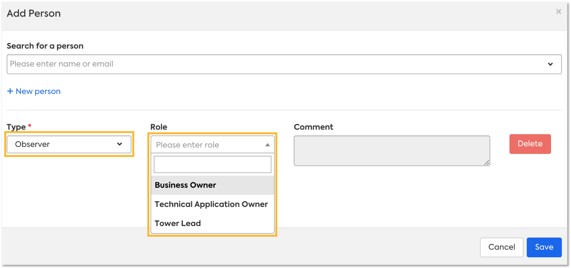 """Adding a user as a subscriber to a fact sheet. """"Application Portfolio Owner"""" is not available when Type is set as Observer. Due to how the Subscription Role is defined in the Administration > Subscription Role"""